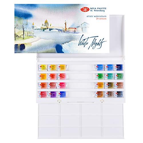 White Nights Watercolour - Set de 24 acuarelas, Caja de plástico