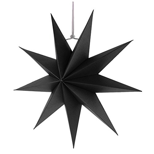 Gazechimp Hänge-Deko aus Papier 3D Sterne Form für Weihnachten Halloween Party - Schwarz, 30 cm