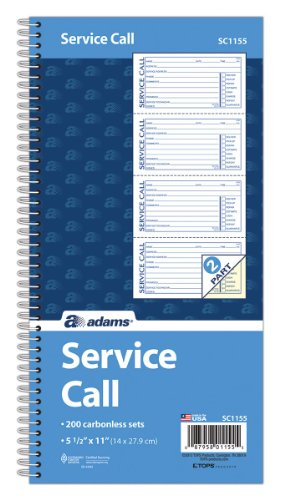 Adams Service Call Book, 5.25 x 11 Inch, Spiral Binding, 2-Part, Carbonless, 4 Messages per Page, 200 Sets, White and Canary (SC1155), White/Canary