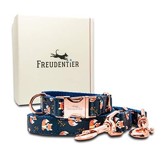 Freudentier® Hundehalsband & Hundeleine (2m) im Set | Inkl. Geschenkbox | Wundervolles Design | Absolut Winterfest - Leine & Halsband verstellbar
