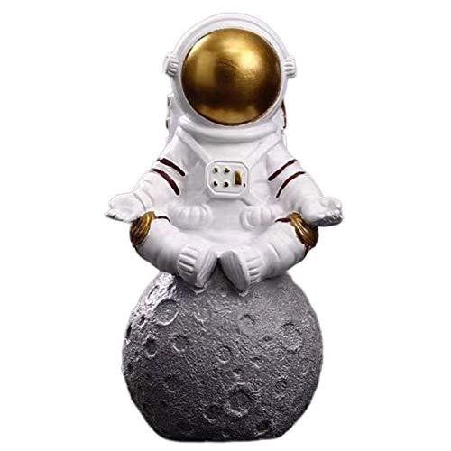 ZSQZJJ Modernos Estatuas Figuritas Adornos de Interior Estatuas Decorativas,Figuras de Astronauta Astronauta con Escultura de Luna Estatuas de cosmonauta Creativas Decorativas