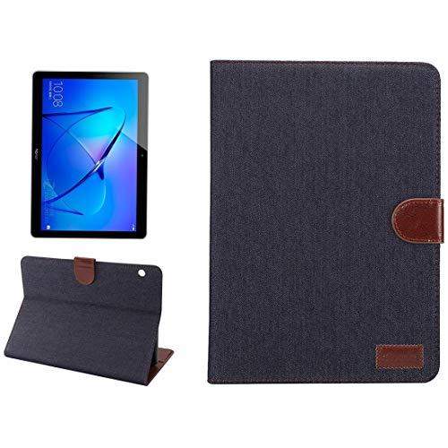 Funda Protectora para Tablet Huawei MediaPad M3 Lite 10 Pulgadas Denim Texture PC Horizontal Funda Protectora de Cuero con Cremallera con Soporte y Ranuras para Tarjetas & Cartera y Marco de Fotos