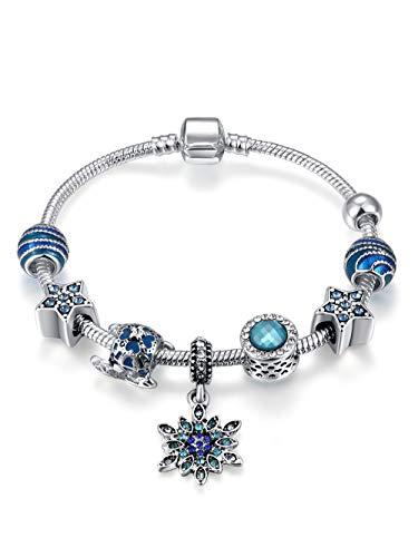 Qings Perle di Vetro Blu Classico Fiocco di Neve Pendente Argento Placcato Fascino Braccialetto Regalo di Natale per Donne Ragazze