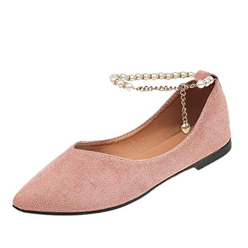 Qmber Damen Sportliche Ballerinas Basic Flandell Klassische Damen Ballerinas Schuhe Basic Flat Espadrilles Perlen Pointed Toe Knöchel Schnalle Flock/Pink,39