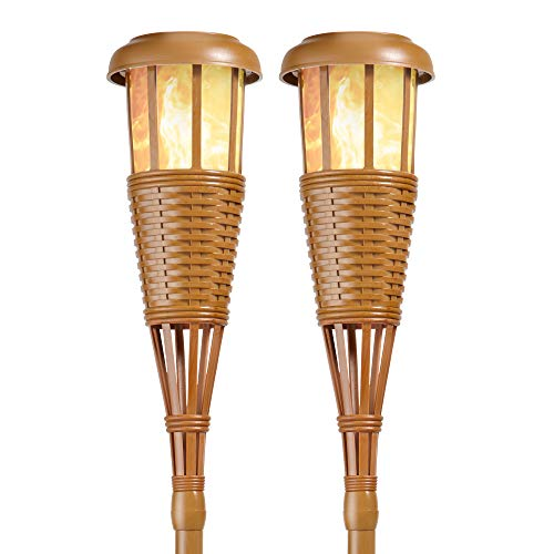 backyard torches Newhouse Lighting FLTORCH2 LED Island Torch Solar-Powered Flickering Dancing Flame Effect, Waterproof Outdoor Landscape Lighting, Bamboo Finish , 2-Pack