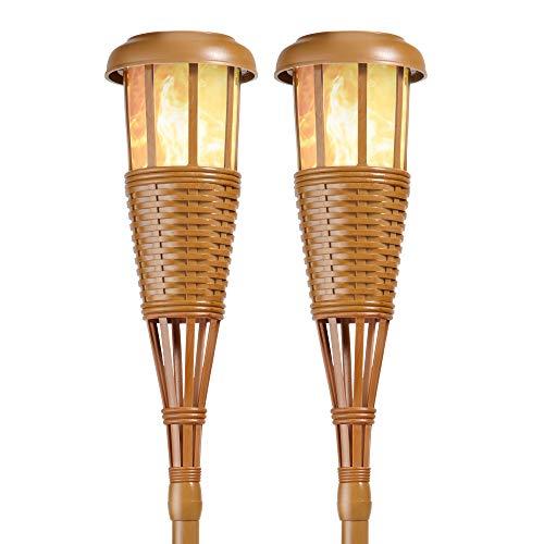 Newhouse Lighting TIKILED4 Solar Flickering LED Island Torches, Bamboo...