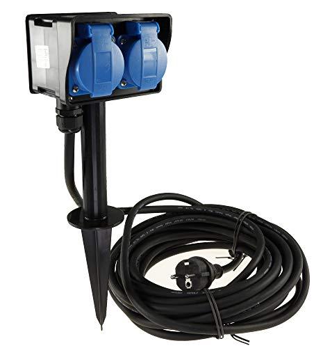 Gartensteckdose 2-fach Steckdosenblock mit 10m H07RN-F 3G1,5mm² Kabel 2x Steckdosen Erdspieß IP44 230V Aussen-Steckdose zugelassen für den dauerhaften Einsatz im Aussenbereich