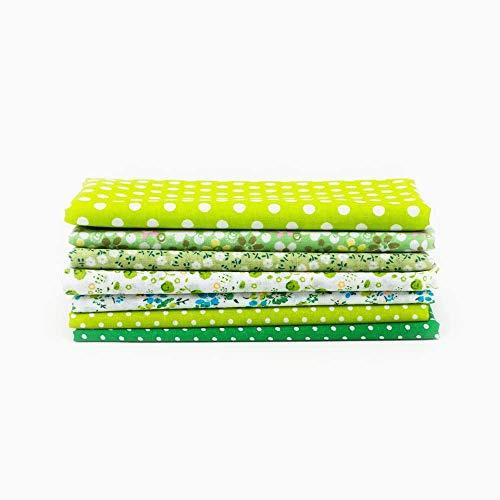 Pandao Tejido de algodón, 7 Piezas Surtido de Grasa Cuarto de Colcha Edredón Acolchado Tejido de algodón Costura Juego de Bricolaje para Manualidades de Bricolaje Costura Ropa Acolchado