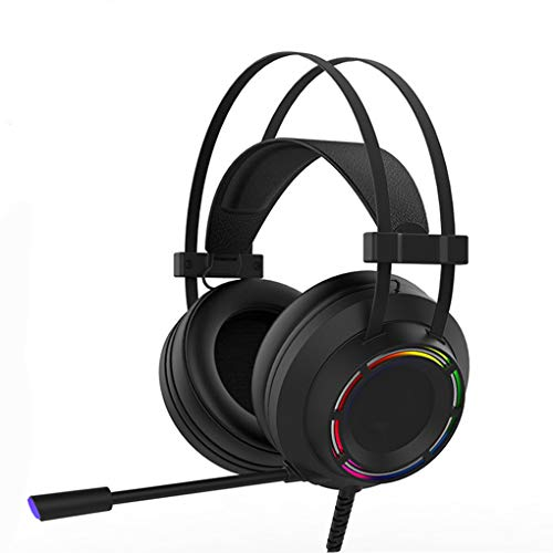 TYYW Gaming Headset, Headphones Gaming Headset Wired with Microphone Professional Gamer 7.1 Surround Sound RGB Light for PC Computer Xbox One,Black