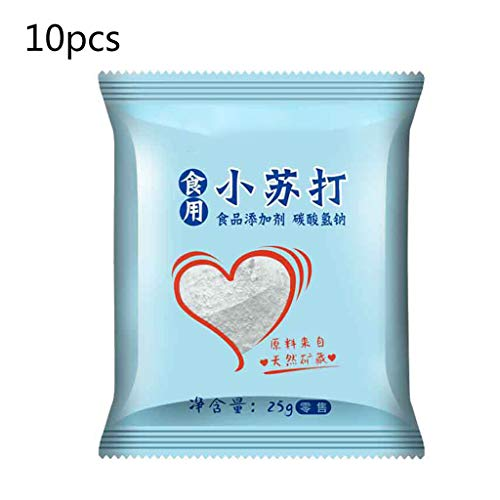 Healthy Food,10 Bags Sodium Bicarbonate Powder Food Grade Edible Baking Soda Multi-Purpose for Bread Cake Making Cleaning Vegetables Decontamination Kitchen Supplies