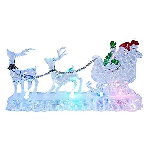 The Christmas Workshop Décoration de Noël Renne avec traîneau en Acrylique LED de Couleurs Variables Fonctionnement à Piles
