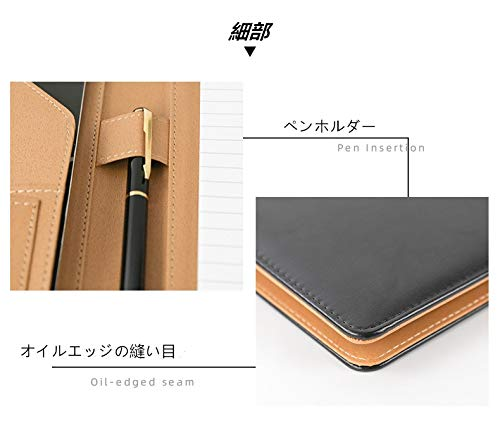 ファイルケースシステム手帳A4、A512桁電卓付きバインダーファイルメモ紙付き多機能フォルダークリップボードA4二つ折りPUレザービジネス(ブラウンA4,メモ紙)