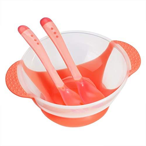 01 Tazón de Fuente de la Ventosa del bebé del silicón, Sistema del vajilla del bebé, 16 * 12.5 * 6cm para el bebé(Pink)