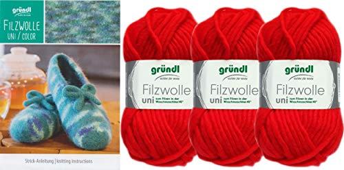3x50 Gramm Gründl Filzwolle Uni Wolle SB-Pack Wollset inkl. Anleitung für Gestreifte Filzhausschuhe mit 2 Strasssteine Zum aufnähen 09 Rot