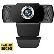 1080P Webcam, HDWeb Camera with Built-in HD Microphone,USB Web Cam with Manual Focus& Large Sensor