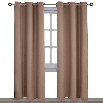 NICETOWN Window Treatment Thermal Insulated Solid Grommet Blackout Curtains/Drapes for Bedroom (1 Pair, 42 by 84 Inch, Cappuccino)