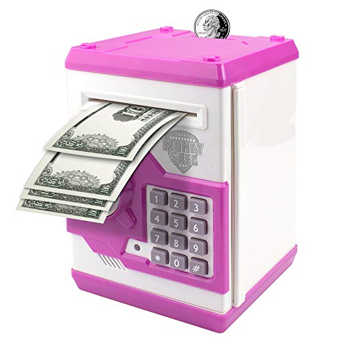 Suliper Electronic Piggy Bank Code Lock for Kids Baby Toy, Mini ATM Safe Coin Cash Banks Real Money Saving Box with Password, Auto Money Scroll for Children,Boys Girls Birthday Gift (White/Pink)