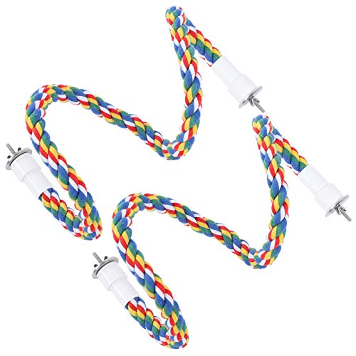 YOUTHINK 2Pcs Bird Rope Perches Brightly Colored Handmade Chew Toy Parrot Swings Spiral Stand Brightly Colored Handmade Chew Toy (60CM)