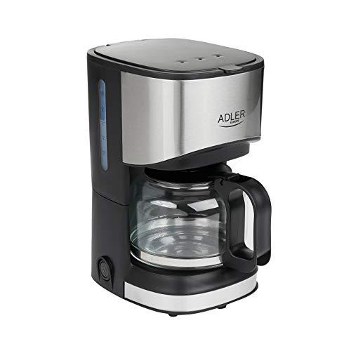 Adler AD-4407 Cafetera de Goteo 8 Tazas, Acero Inoxidable, Libre de BPA, 550W, 550 W, 0.7 litros, negro y gris