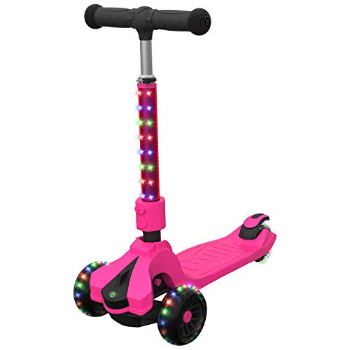 Jetson Saturn Folding 3-Wheel Kick Scooter with Light-Up Stem & Deck, Lean-to-Steer Design with Sturdy Wide Deck & Adjustable Height, for Kids 5 & Up, Pink