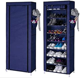 Aysis Multipurpose Portable Folding Shoes Rack 9 Tiers Multi-Purpose Shoe Storage Organizer Cabinet Tower with Iron and No...