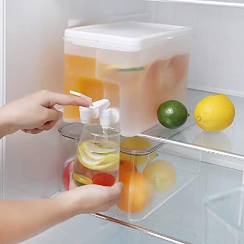Gidenfly - Dispensador de bebidas de plástico con grifo, jarras de zumo, recipiente de 6 litros con jarra de 2 pines, hervidor de agua fría con grifo, jarra de agua para puerta del frigorífico