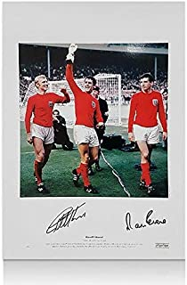Signed Geoff Hurst Photo - Sir & Martin Peters England 1966 Lap of Honour - Autographed Soccer Photos
