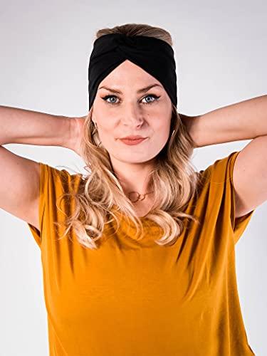 PUFFBIRD® Haarband Basic Black | Damen Stirnband aus Bio-Baumwolle (GOTS) | Made in Germany