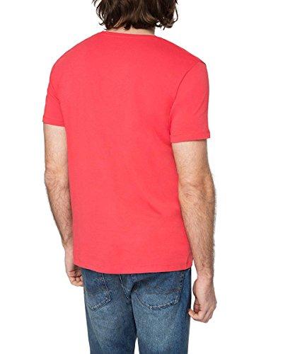 Esprit 026EE2K039-Logo Print-Regular Fit T-Shirt, Rouge-Berry Red, X-Large Homme