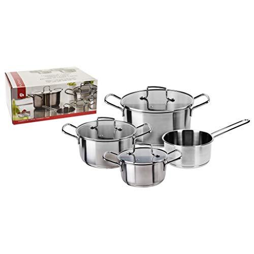 Excellent Houseware Jeu de Casseroles 4 pcs Acier Inoxydable Ustensile Cuisine