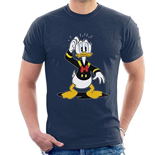 Disney Men's Classic Donald Duck Confused T-Shirt, Navy Blue, XL
