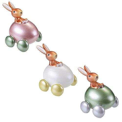 Juego de 3Decoración de figuras de Pascua conejo en el coche de polirresina/, fijo, de Pascua Pascua de decoración, decoración de figura, primavera, Pascua, conejo de Pascua, regalo de Pascua