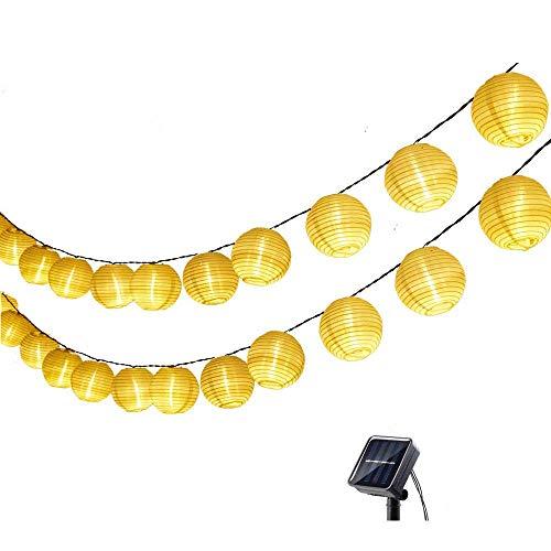 ZDSKSH Farolillos Solares Exterior de Luces de Cuerda 4m 20 LED Blanco Cálido Impermeable Guirnalda Luces Exterior LED Linternas Farolillos Decorativos Solares para Decoración Jardines