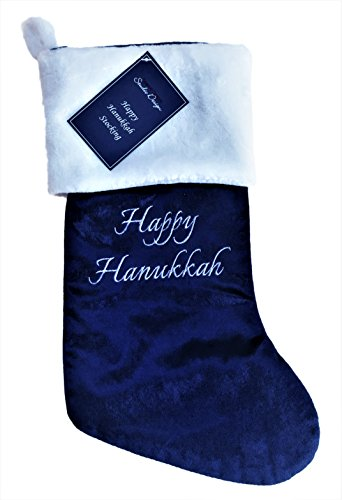 Happy Hanukkah Stocking Blue and White