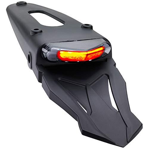 Motorrad LED Rücklicht Bremslicht KennzeichenbeleuchtungTriangle mit Kennzeichenträger schwarz grau getönt