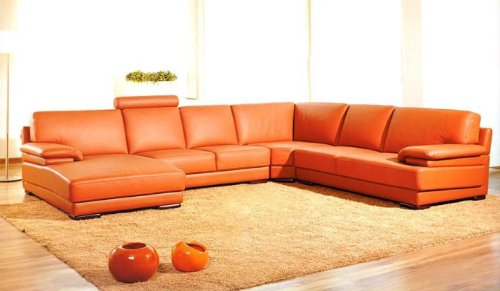 VIG Furniture 2227 Orange Leather Contemporary Sectional Sofa with Chaise