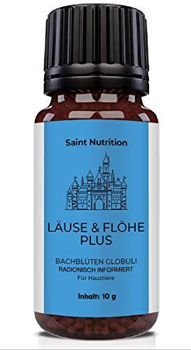 Saint Nutrition® LÄUSE & FLÖHE Plus Globuli als Hilfe beim Laus & Floh Befall, für Katzen und Hunde DIE natürliche Alternative - pflanzliches Mittel & Hausmittel mit Bachblüten | 10g