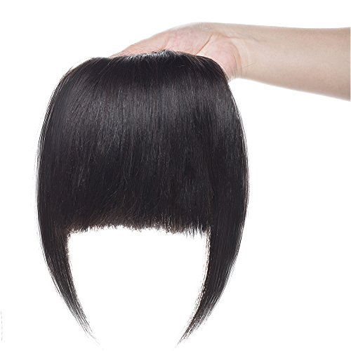 SEGO Frangia Clip Capelli Veri Frangetta Fascia Unica Nera Extension 100% Remy Human Hair Bang Piena Lisci 25g #1B Nero Naturale