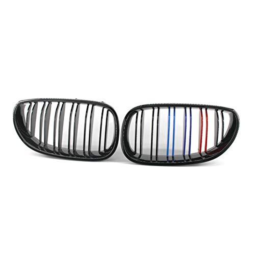 Fornateu 1 Paar M-Style Gloss Black Front Doppel Felgen Gitter Grill für E60 5er M5 03-09