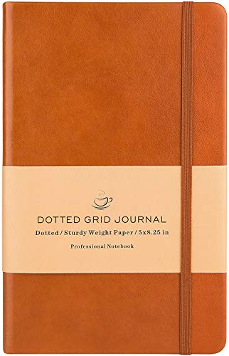 Dotted Grid Notebook/Journal - Dot Grid Hard Cover Notebook, Premium Thick Paper with Fine Inner Pocket, Brown Smooth Faux Leather, 5