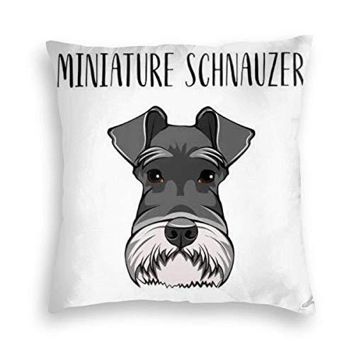Liquor S Velvet Pillowcase, Skin-Friendly,Double-Sided Printing,Dog Miniature Schnauzer Breed Dog Hidden Zip Pillowcase Pattern