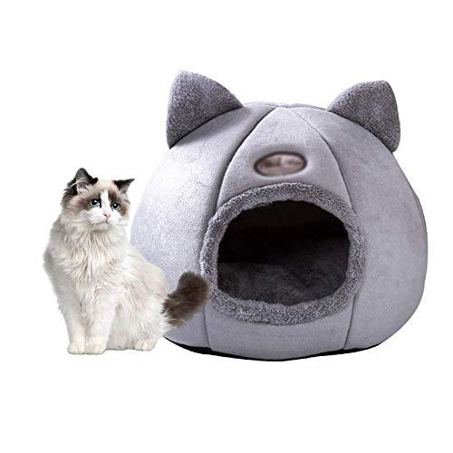 ERLINGO Cama portátil para gato, cama para gato, cama cálida, suave, cómoda, nido para mascotas, interior semicerrado, para mascotas, gatos, perros, casas para dormir