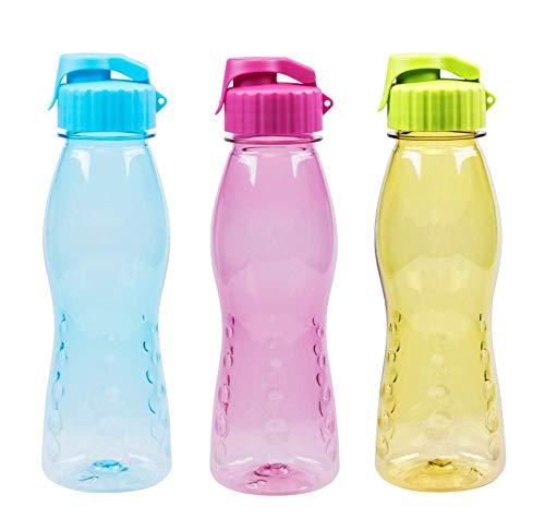 3er Set Steuber Trinkflasche Flip Top, BPA-frei, 700 ml Inhalt, blau, grün und pink