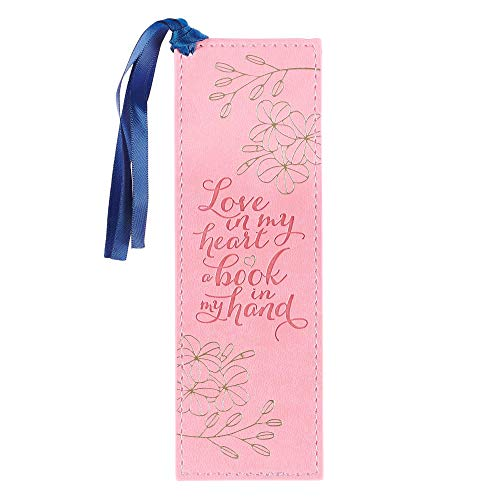 With Love Faux Leather Bookmark Love & Books w/Satin Ribbon Tassel, Pink