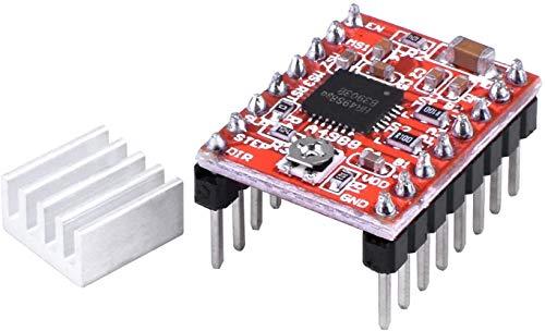 HiLetgo 5pcs A4988 Stepstick Stepper Motor Driver Module with Heat Sink for 3D Printer Reprap Suitable for Mendel Huxley Arduino
