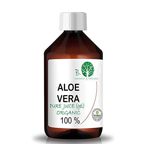 Organic Aloe Vera Juice 99.99% Cold-Pressed, Genuine, Liquid, Without thickeners (500 ml I 17.03 Fl. oz)