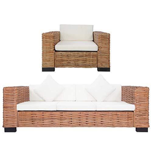 vidaXL Gartensofa 3-Sitzer Sitzpolster Kissen Rattansofa Sessel Gartensessel Lounge Sofa Gartenmöbel Gartengarnitur Sitzgarnitur Natürliches Rattan