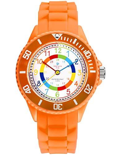 Alienwork Kids Orologio di Apprendimento Bambini Ragazze Arancione Bracciale in Silicone Multicolore bambini Impermeabile 5 ATM