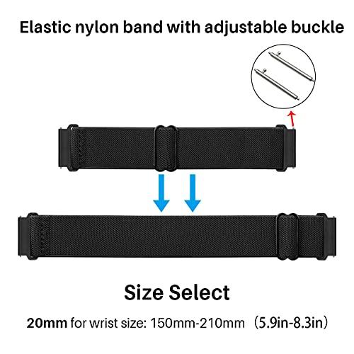MroTech 20mm Uhrenarmband kompatibel für Samsung Galaxy Watch 42MM/Active 2/Active2 40mm/44mm/Galaxy Watch3 41mm Armband für GT 2 42MM/GTR 42 mm/GTS Nylon Loop Elastic Woven Band Adjustable Schwarz