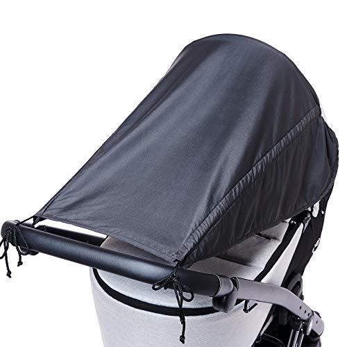 Universal Sonnensegel für Kinderwagen mit Seitenschutz/UV Schutz 50+/ Sonnenverdeck für Kinderwagen/Sonnendach/Sonnenrollo/Sonnenschutz für Babys/Farbe: Anthrazit